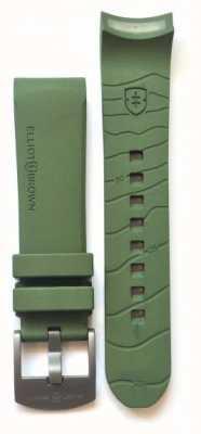 Elliot Brown メンズ22mmグリーンゴムのガンメタルタングバックルストラップのみ STR-R04