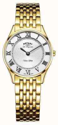 Rotary Womens les originalesウルトラスリムホワイトダイヤル LB90803/01
