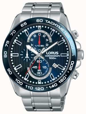 Lorus メンズクロノグラフステンレススチールブルーダイヤル RM375CX9