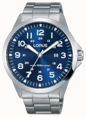Lorus メンズステンレススチールブレスレットブルーダイヤル RH925GX9