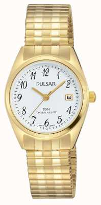 Pulsar レディースゴールドトーンステンレススティールホワイトダイヤル PH7444X1
