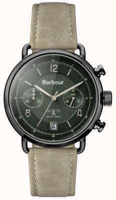 Barbour メンズソールズベリーカーキレザーストラップグリーンダイヤル BB053GRKH