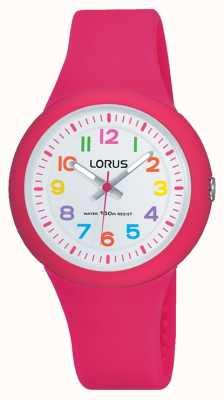 Lorus ユニセックスピンクラバーストラップホワイトダイヤル RRX49EX9