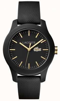 Lacoste ユニセックス12.12ブラックラバーストラップブラックダイヤル 2000959