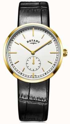 Rotary メンズカンターベリーブラックレザーストラップホワイトダイヤル GS05062/02
