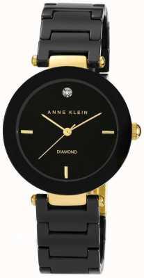 Anne Klein レディースブラックセラミックストラップブラックダイヤル AK/N1018BKBK