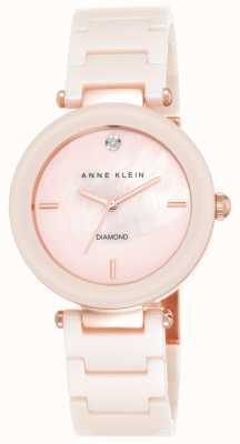 Anne Klein レディースピンクセラミックストラップピンクの母の真珠ダイヤル AK/N1018PMLP