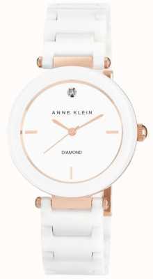 Anne Klein レディースホワイトセラミックストラップホワイトダイヤル AK/N1018RGWT