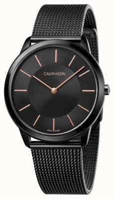 Calvin Klein メンズミニマルウォッチ|ブラックステンレスメッシュストラップ| K3M21421