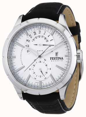 Festina メンズブラックレザーストラップホワイト F16573/1