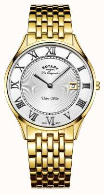 Rotary メンズウルトラスリムゴールドトーンステンレススチールホワイトダイヤル GB90803/01