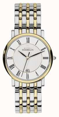Michel Herbelin メンズ2トーンステンレススティールシルバーゴールドストラップ 12543/BT01
