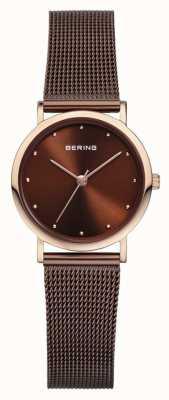 Bering 女性のステンレススチールブラウンメッシュストラップ 13426-265