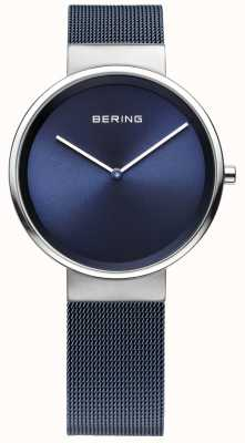 Bering ユニセックスブルーメッキスチールメッシュストラップ 14531-307