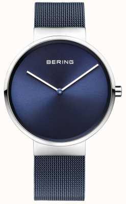 Bering ユニセックスブルーメッキスチールメッシュストラップ39mm 14539-307