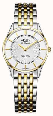 Rotary 女性の超薄型時計|ツートンカラーのステンレススチール/ PVDストラップ| LB90801/41