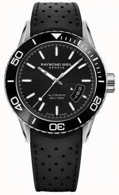 Raymond Weil メンズオートマチックブラックダイヤルラバーストラップ 2760-SR1-20001