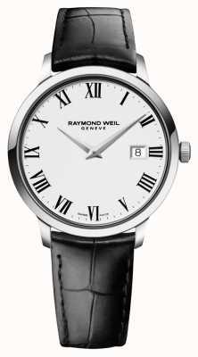 Raymond Weil メンズスリムホワイトブラックレザー 5488-STC-00300