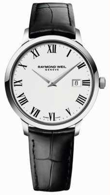 Raymond Weil メンズスリムホワイトブラックレザーストラップ 5488-STC-00300