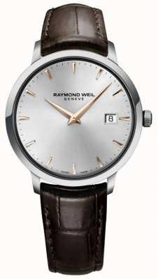 Raymond Weil メンズスリムシルバーブラウンレザーストラップ 5488-SL5-65001