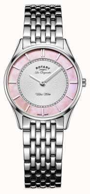Rotary レディースステンレススチールブレスレットピンクの母の真珠ダイヤル LB90800/07