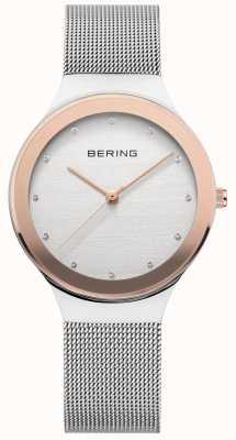 Bering レディース|シルバーステンレスメッシュストラップ|ホワイト/ゴールドダイヤル 12934-060