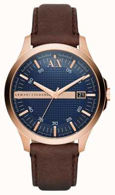 Armani Exchange メンズブラウンレザーストラップローズゴールドケーシング AX2172