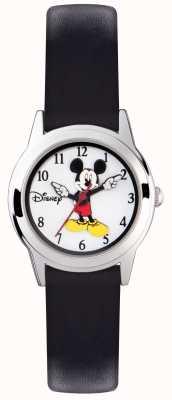 Disney Adult ミッキーマウスシルバーケースブラックストラップ MK1314