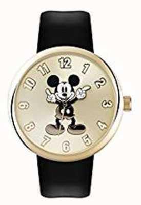 Disney Adult ミッキーマウスゴールドケースブラックストラップ MK1443