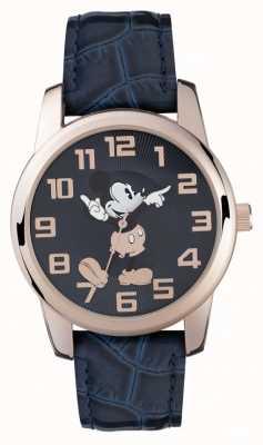 Disney Adult ミッキーマウスローズゴールドケースブルーストラップ MK1456