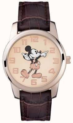 Disney Adult ミッキーマウスローズゴールドケースブラウンストラップ MK1459