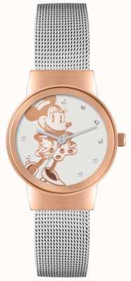 Disney Adult ミニーマウスローズゴールドケースシルバーメッシュストラップ MN1312