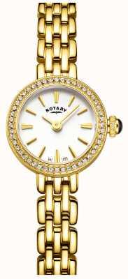 Rotary 女性の金めっきされた石セットカクテルの腕時計 LB05053/02