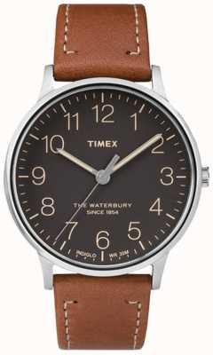Timex メンズウォーターベリークラシックブラックダイヤルブラウンストラップ TW2P95800