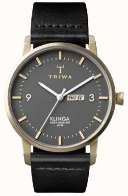 Triwa ユニセックス灰クラングブラックレザー KLST107-CL010117