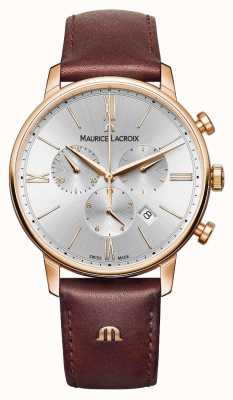 Maurice Lacroix Eliros 40ミリメートルメンズ腕時計茶色の革ローズゴールドメッキ EL1098-PVP01-111-1