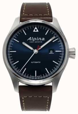 Alpina Mens startimer自動ブラウンレザーストラップブルーダイヤル AL-525N4S6