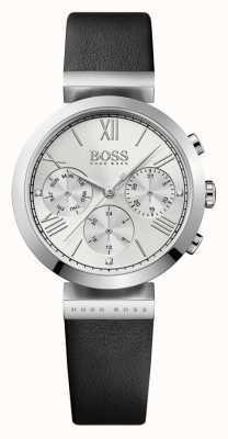 Hugo Boss レディースクラシックスポーツブラックレザーストラップシルバーダイヤル 1502395