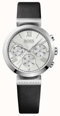 Boss レディースクラシックスポーツブラックレザーストラップシルバーダイヤル 1502395