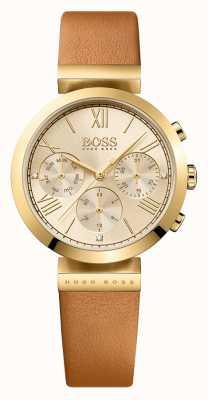 Hugo Boss レディースクラシックスポーツブラウンレザーストラップゴールドダイヤル 1502396