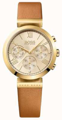 Boss レディースクラシックスポーツブラウンレザーストラップゴールドダイヤル 1502396