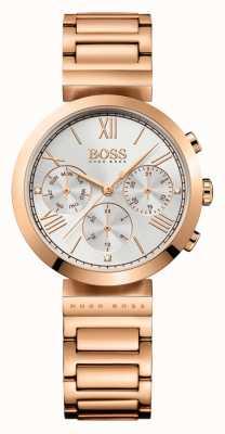 Hugo Boss レディースクラシックスポーツは、ゴールドメッキのブレスレットシルバーダイヤルをバラ 1502399