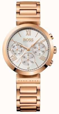 Boss レディースクラシックスポーツローズゴールドプレートブレスレットシルバーダイヤル 1502399