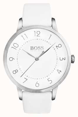 Hugo Boss レディースホワイト革製ストラップホワイトダイヤル 1502409
