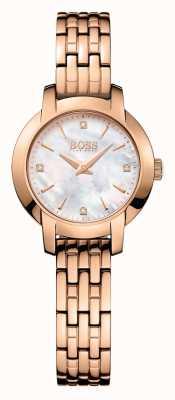 Hugo Boss 女性の成功は真珠ダイヤルの金メッキの母をバラ 1502379