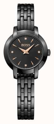 Hugo Boss レディース成功黒メッキスチールブレスレットブラックダイヤル 1502387