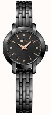 Boss レディースサクセスブラックメッキスチールブレスレットブラックダイヤル 1502387