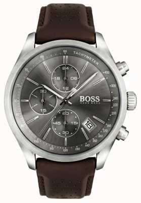 Boss メンズグランプリブラウンレザーストラップグレーダイヤル 1513476