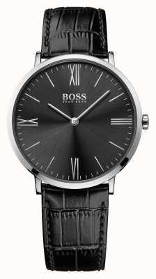 Hugo Boss メンズジャックソンブラックレザーストラップブラックダイヤル 1513369
