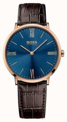 Hugo Boss メンズジャックソンブラウンレザーストラップブルーダイヤル 1513458